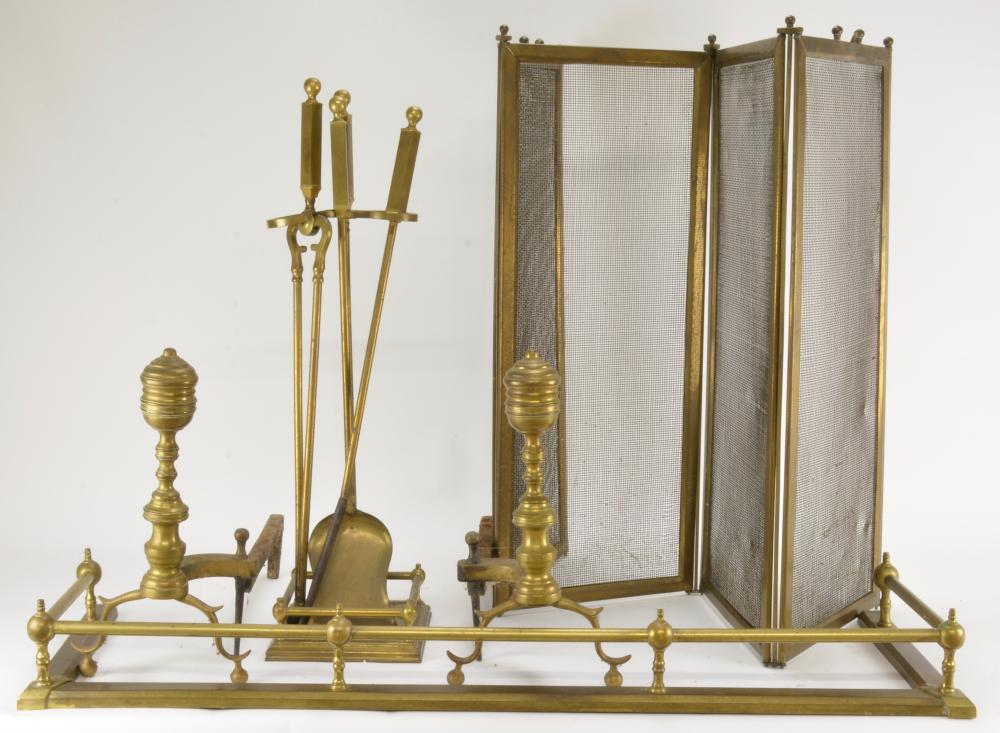 Antique Brass Fireplace Set