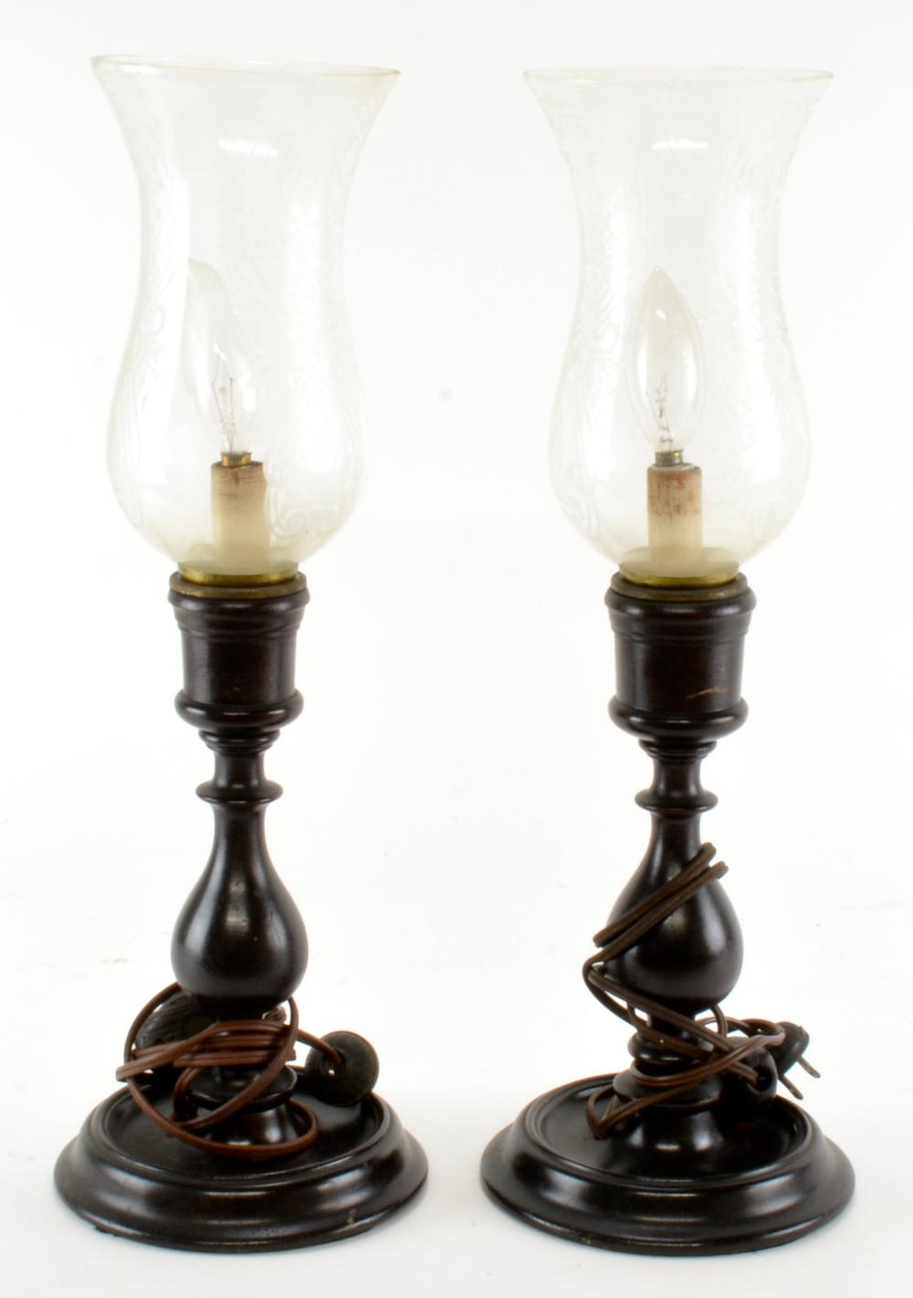 Pair Antique Electric Wooden Hurricane Candle Lamps