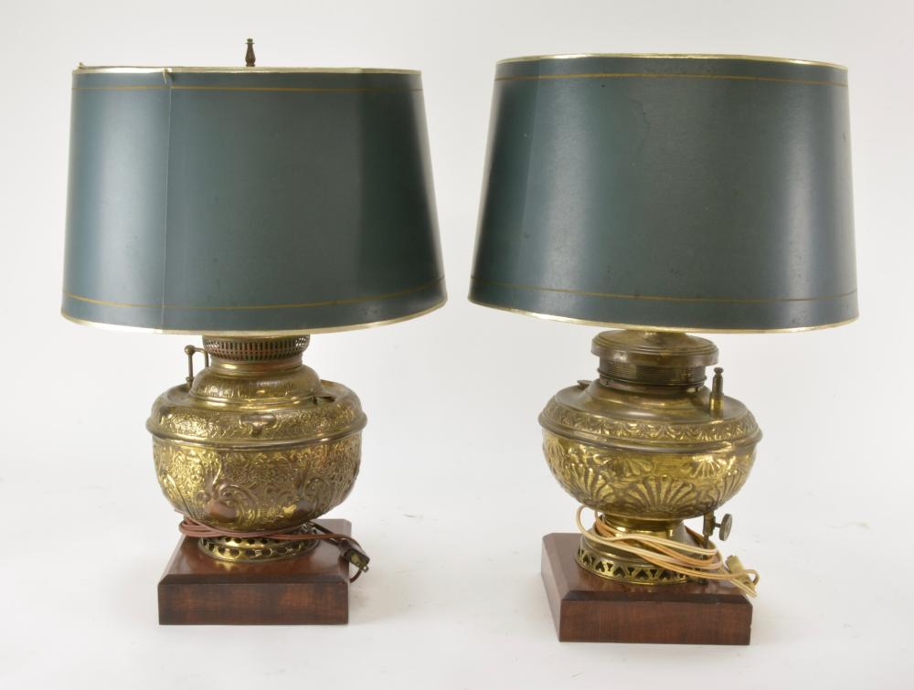 Pair Victorian Converted Brass Oil Lamps