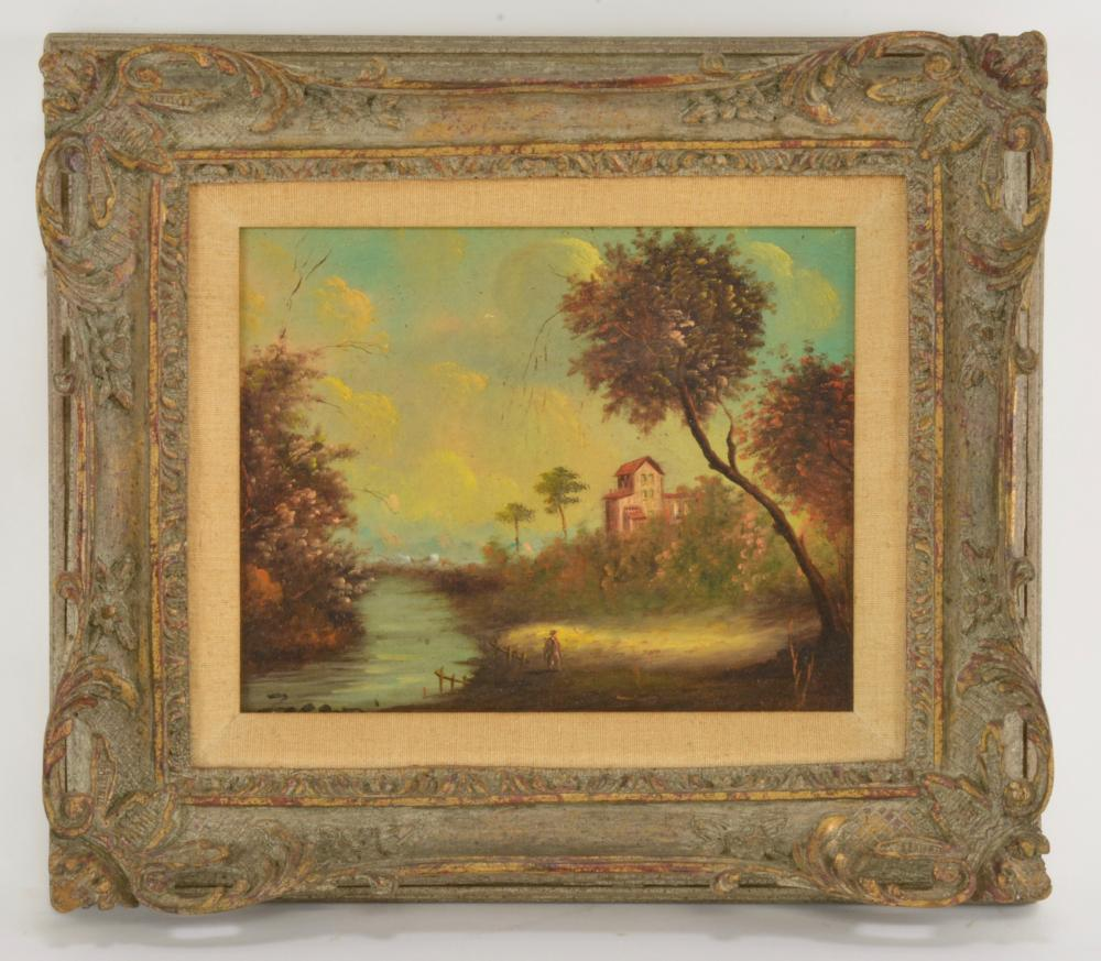 Italian Oil Painting Signed Original Frame