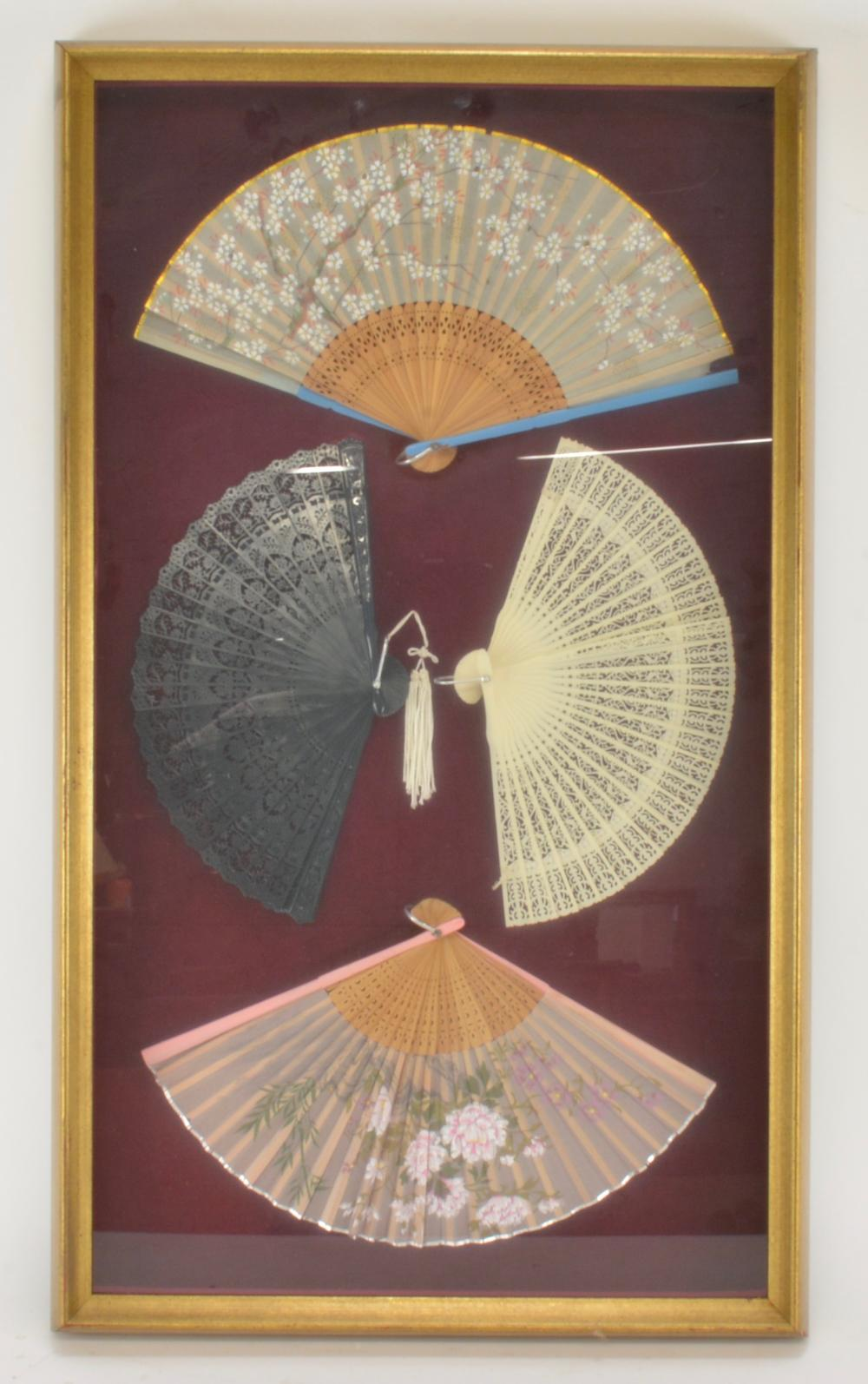 Vintage Chinese Fan Framed Collection