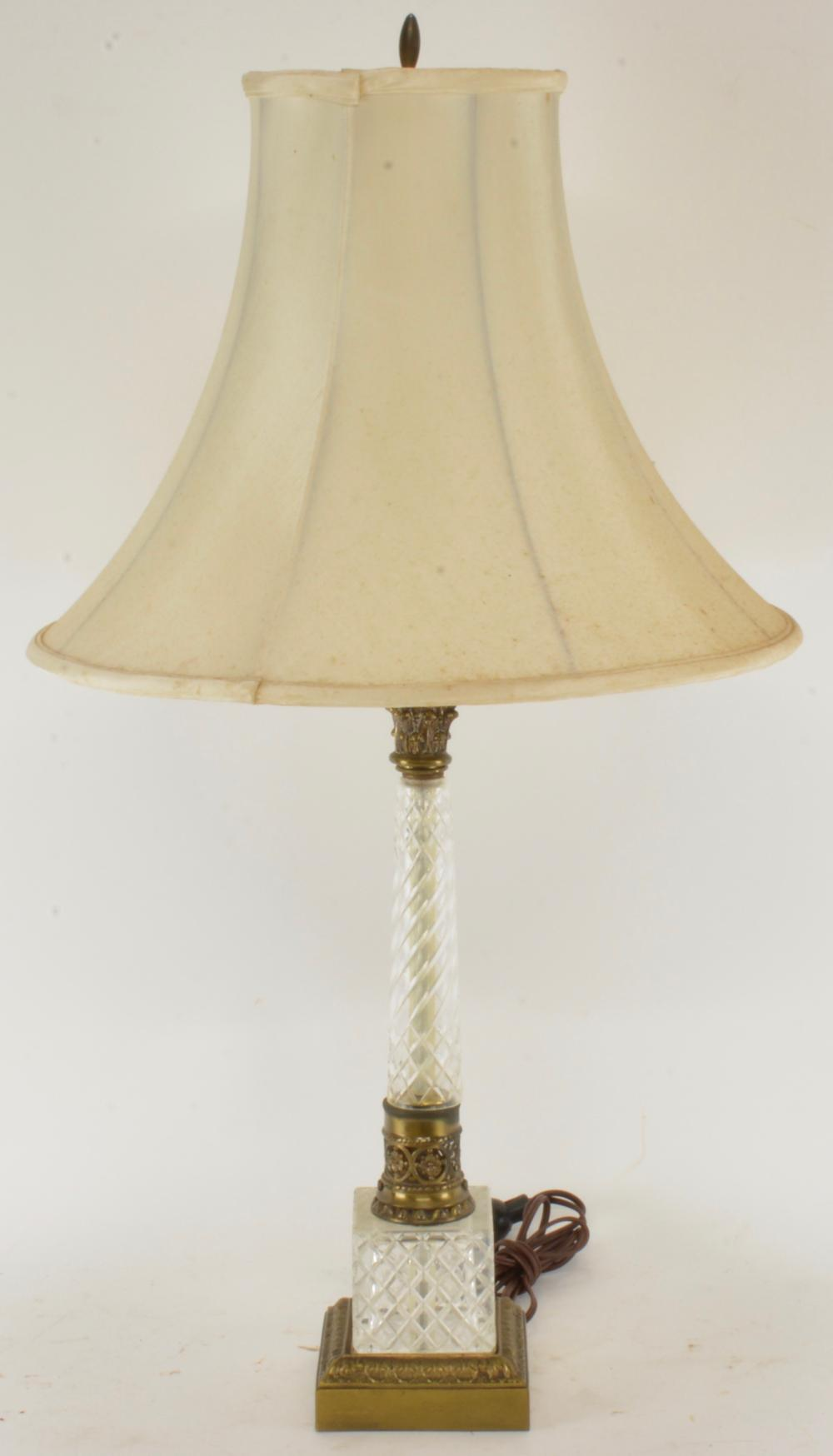 Vintage Italian Crystal Column Brass Lamp