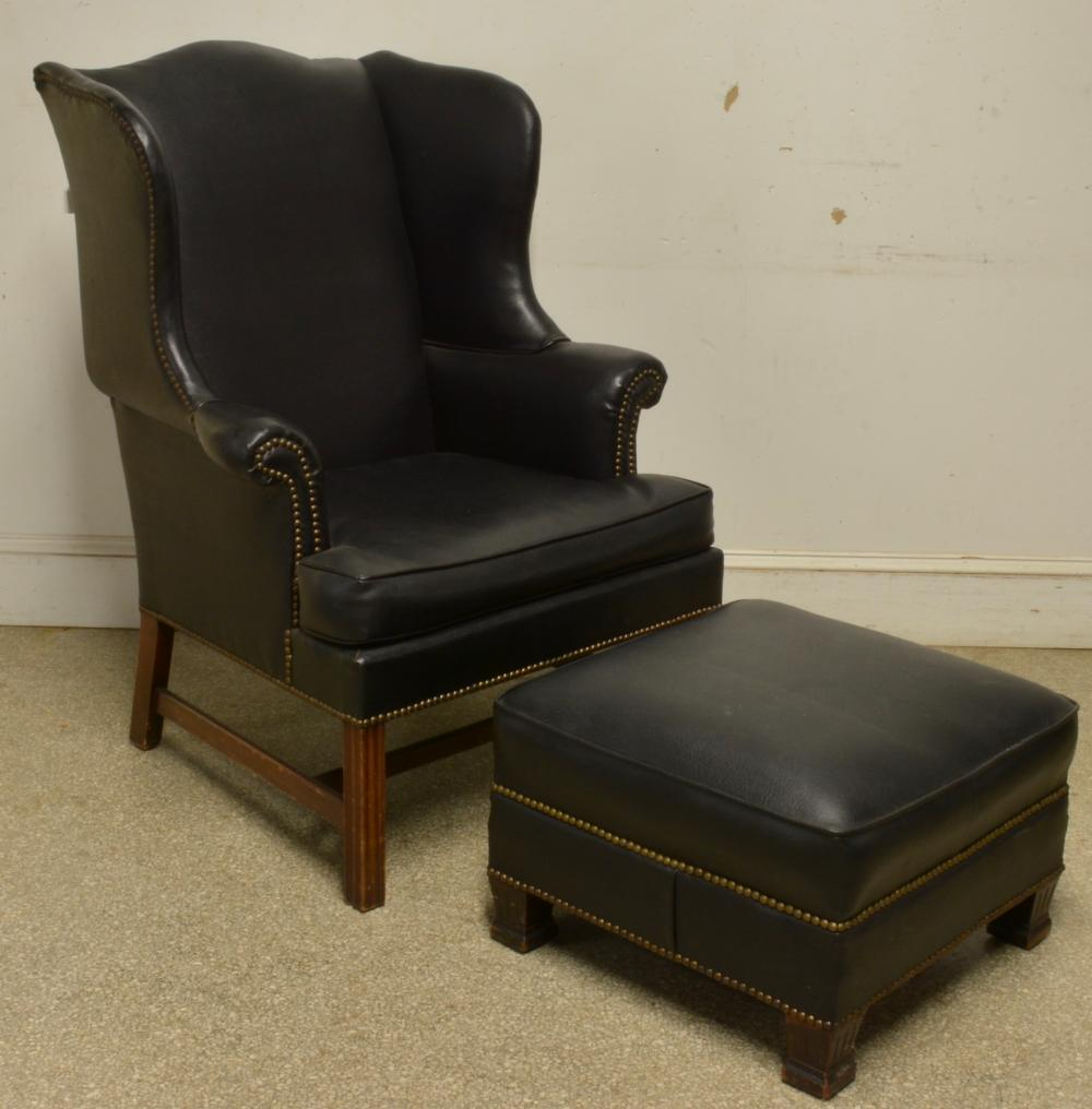 Fine Chippendale Style Wingback Chair And Ottoman