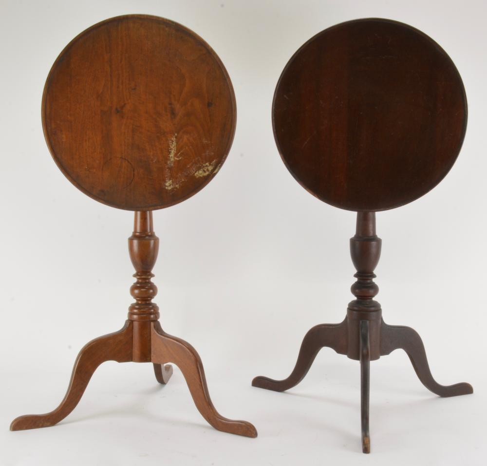 Pair Walnut Tilt Top Candle Stands