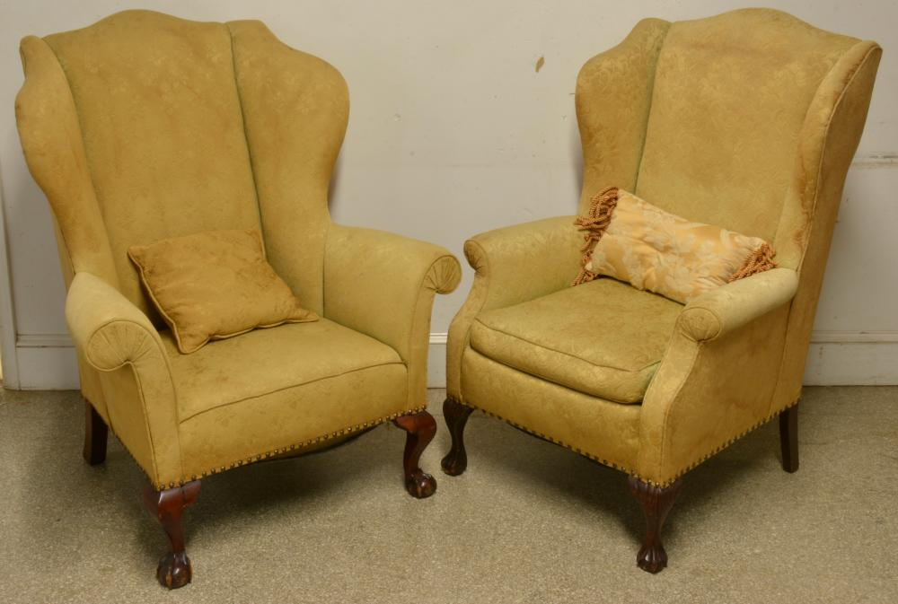 Pair Chippendale Style Wingback Chairs