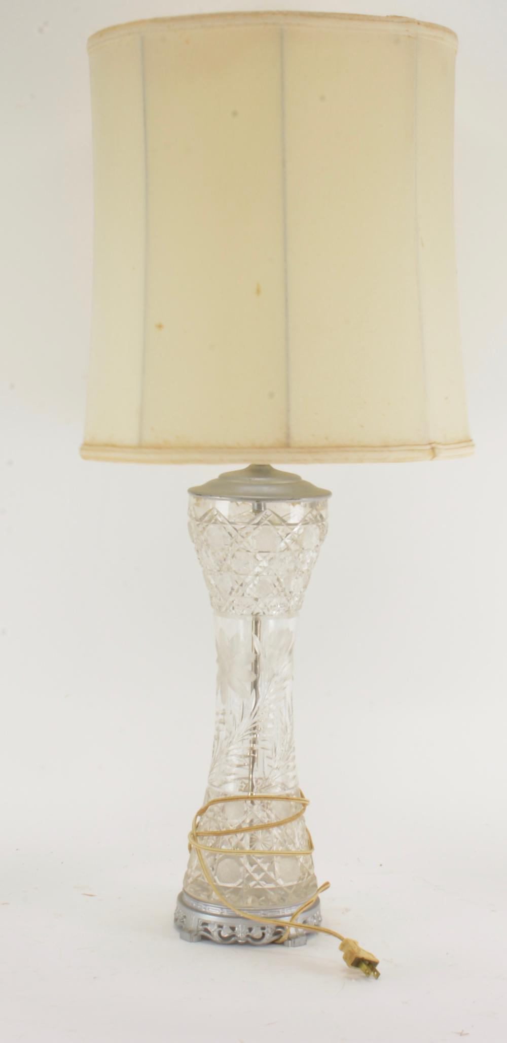 Antique Cut Glass Converted Vase Lamp