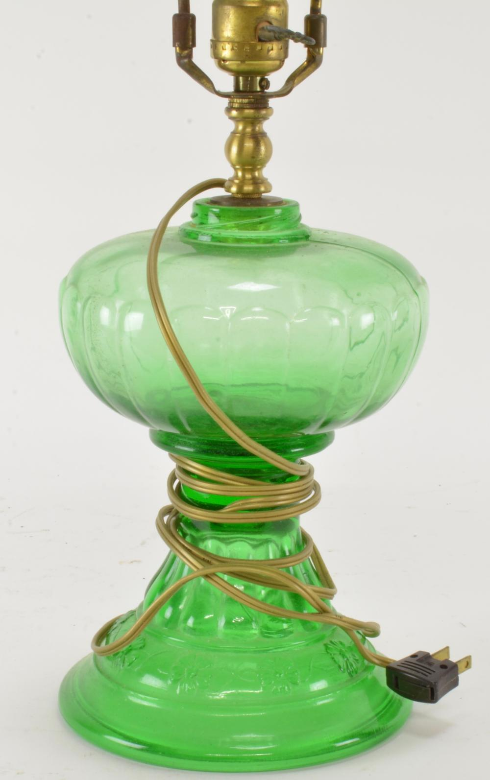 Antique Green Pattern Glass Converted Oil Lamp