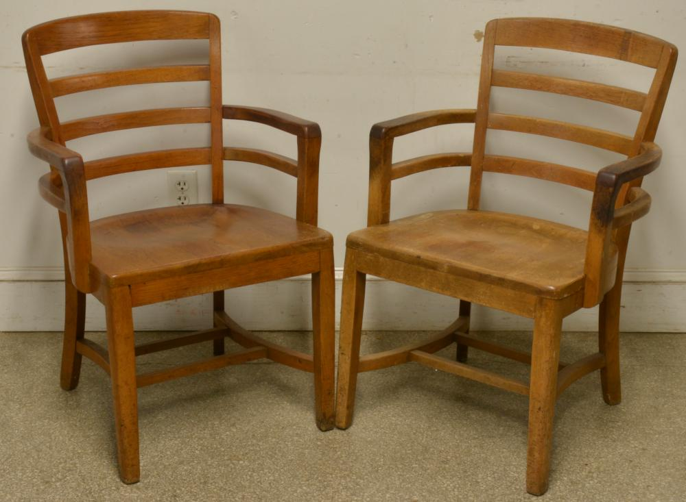 Antique Pair Oak Office Chairs