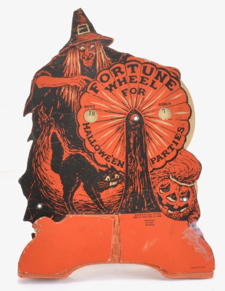 Vintage halloween die cut cardboard fortune wheel Vintage halloween decorations uk