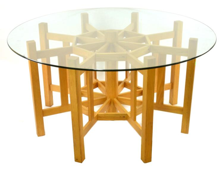 Arts and crafts style water wheel dining table for Arts and crafts style table