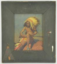 American Indian Print Gesso Color Frame Title On Watch