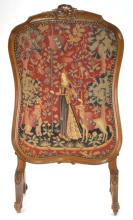 French Victorian Needlepoint Fire Screen