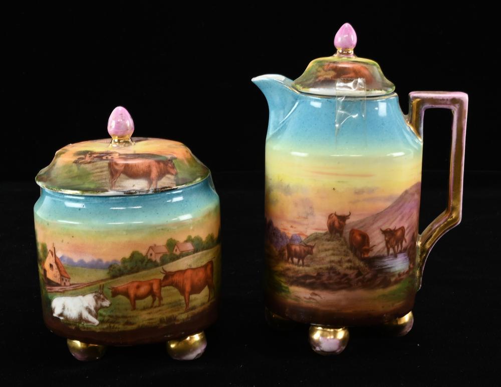 Antique Victoria Austria Scenic Cows Porcelain