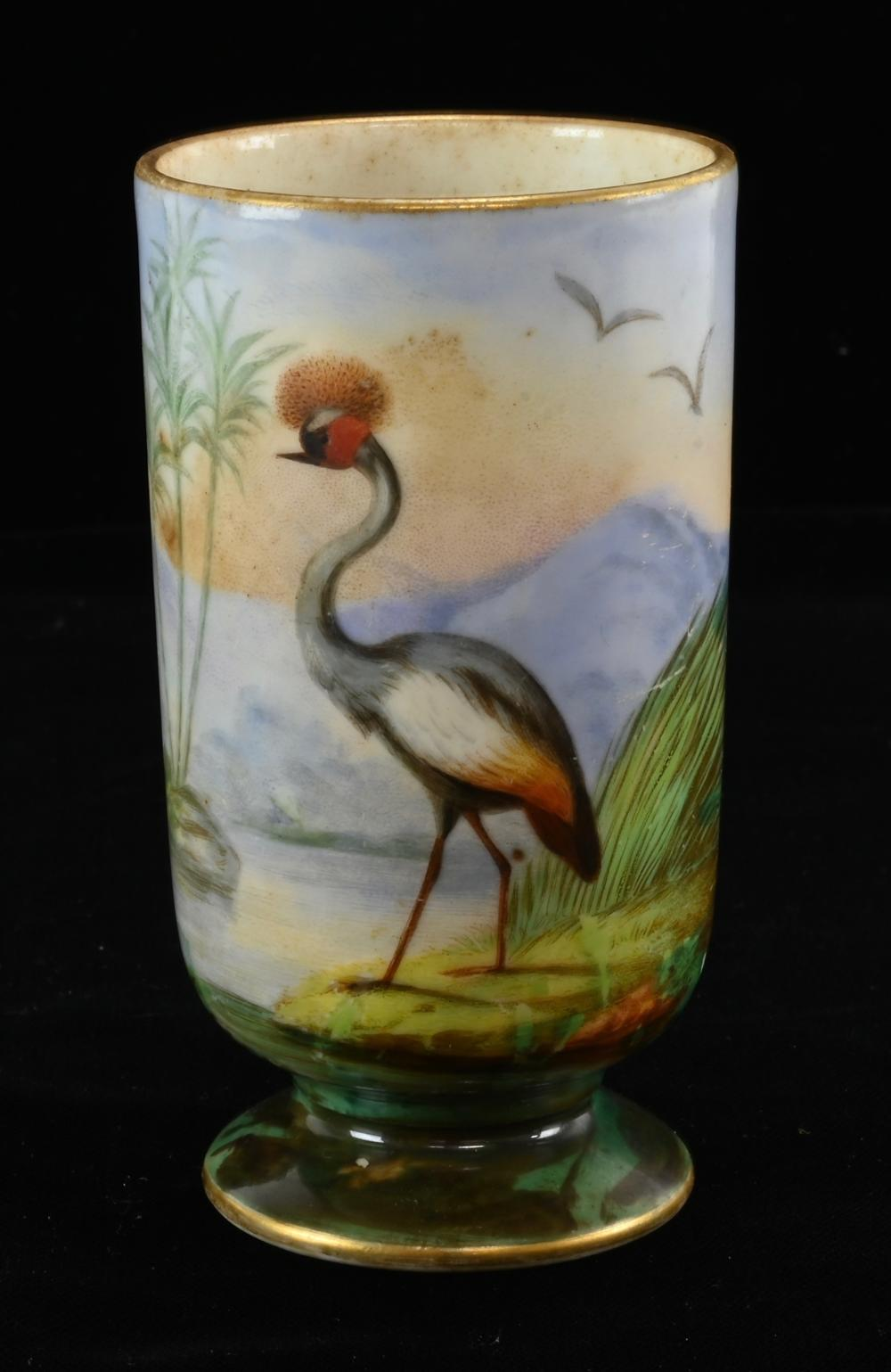 French Porcelain Water Foul Scenic Cabinet Vase