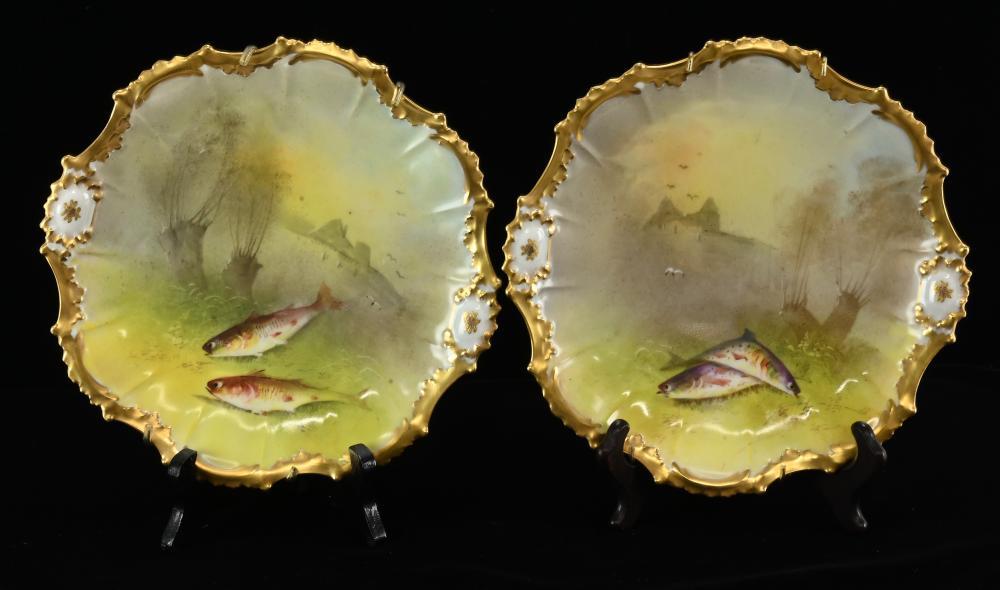 LRL Limoges France Porcelain Fish Plates