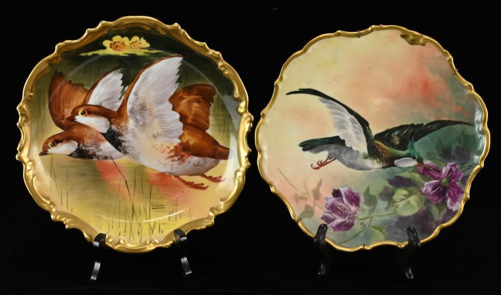 Very Fine Limoges France Porcelain Bird Plates