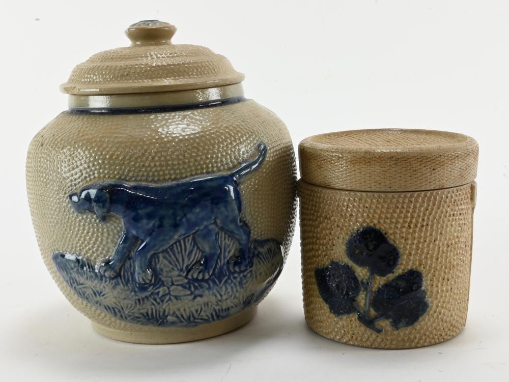 Antique White's Utica Blue Salt glaze Pottery Bird dog Tobacco Jars