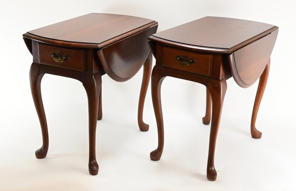 Pair Formal Mahogany Queen Style Pembroke Tables