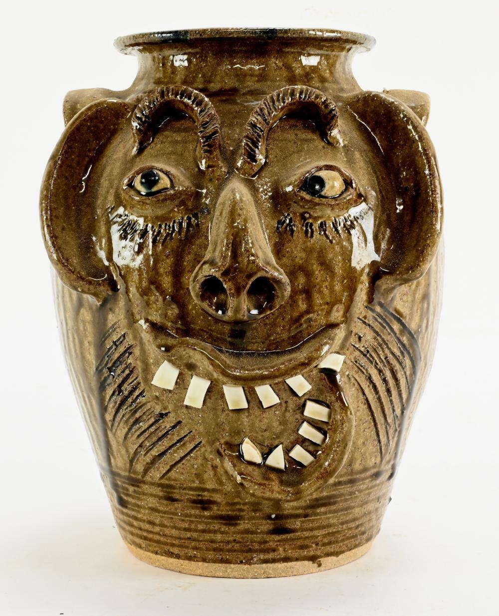 Charles Lisk Vale N.C. Pottery Face Churn