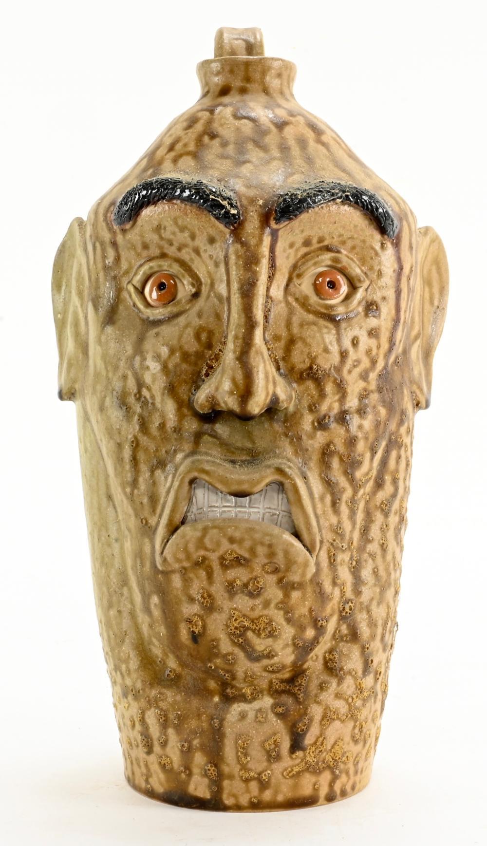 MKL Folk Art Pottery Face Jug With Bikini