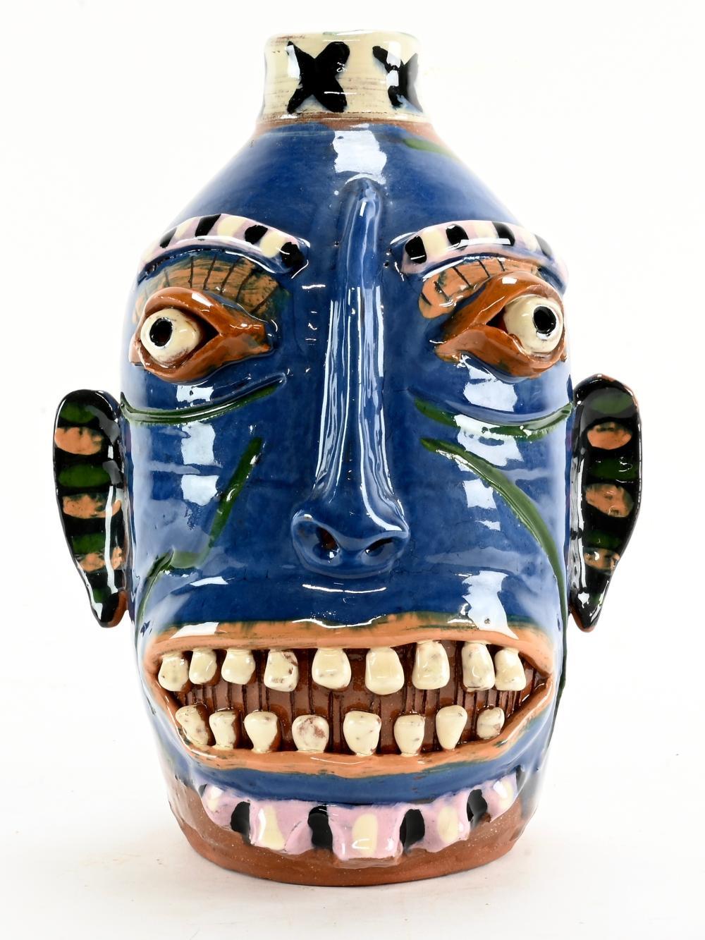 Carl Block Texas Folk Art Pottery Face Jug