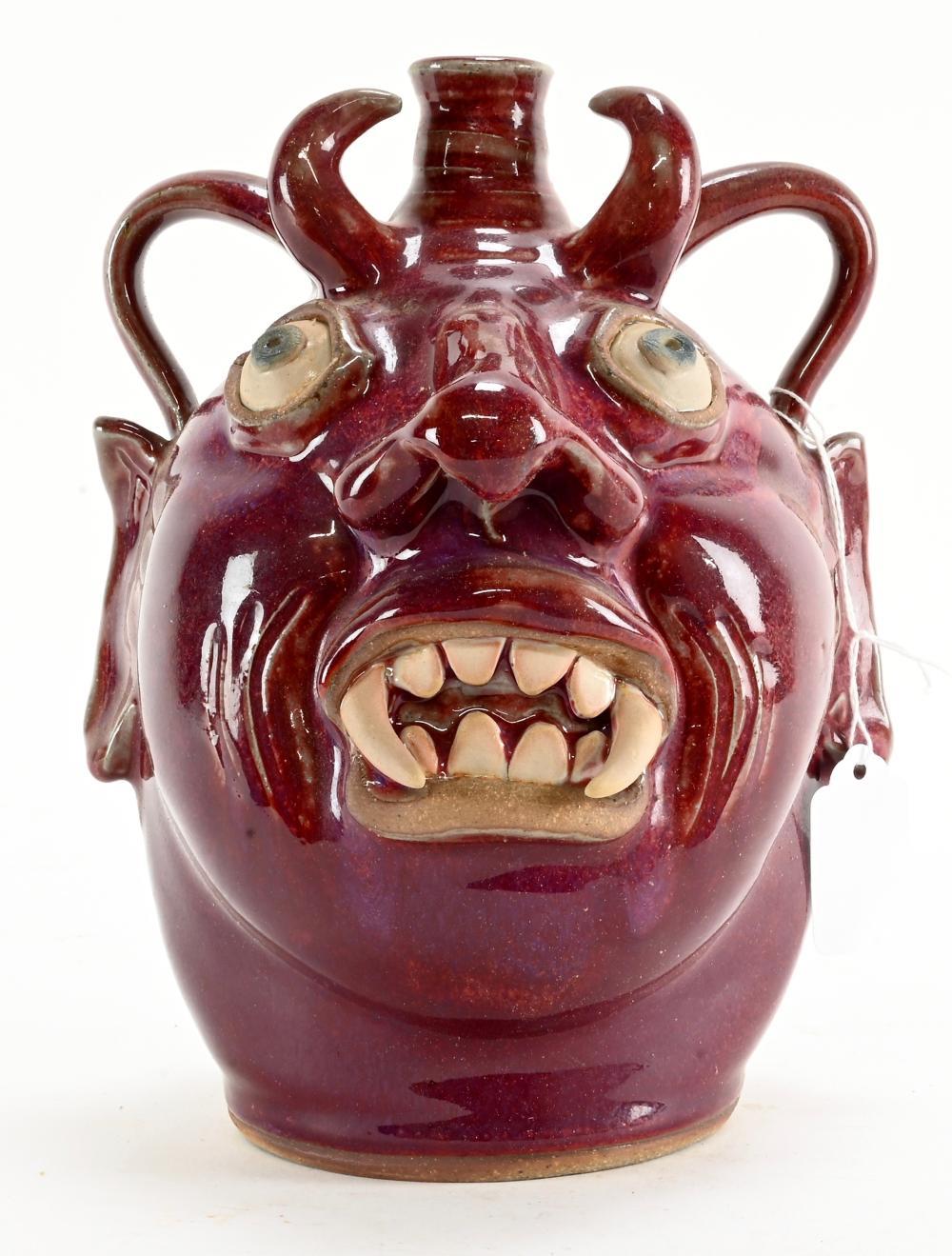 Karen Labarga Pottery Devil Face Jug Drink Me