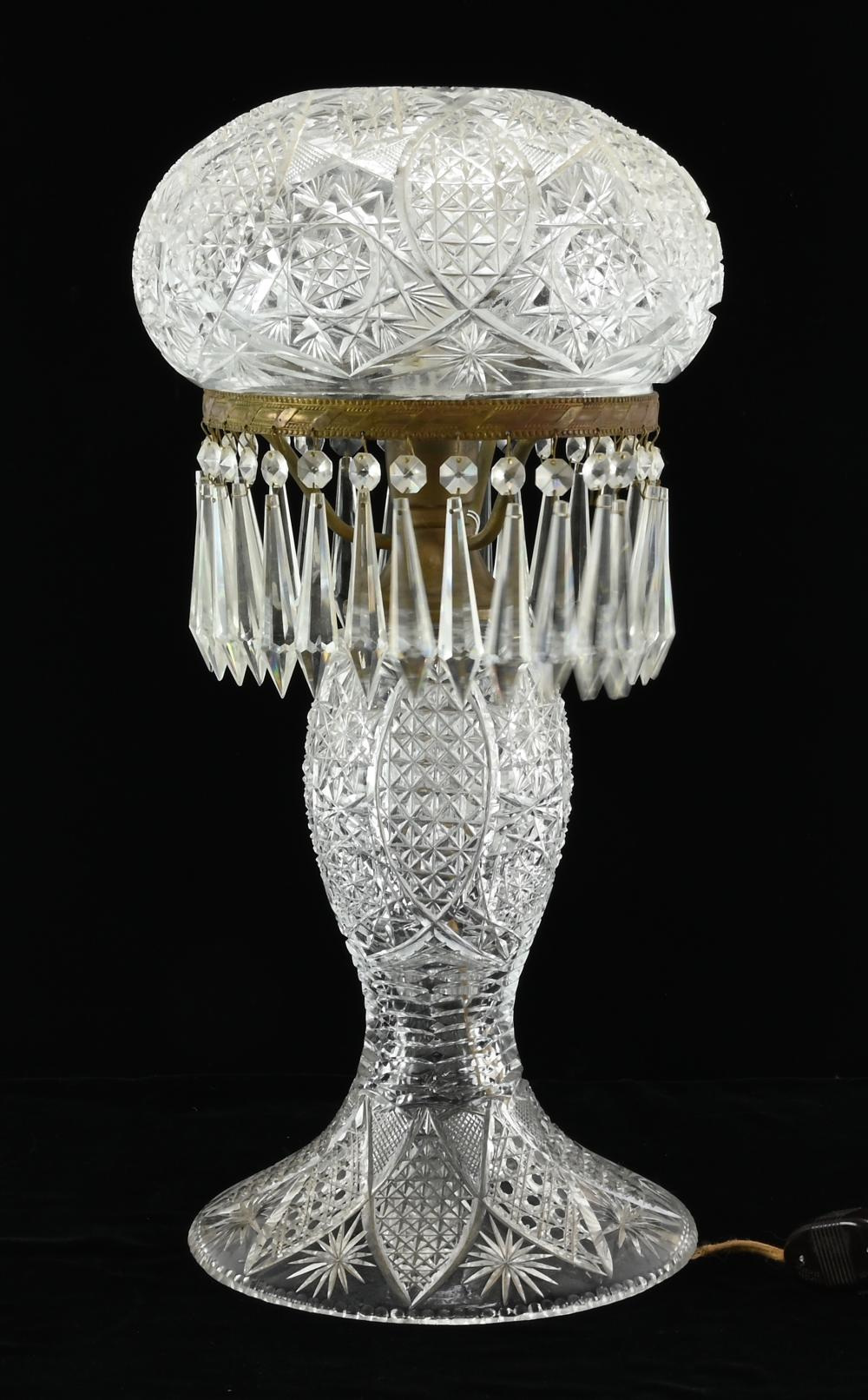 Very Fine Cut Glass Table Lamp