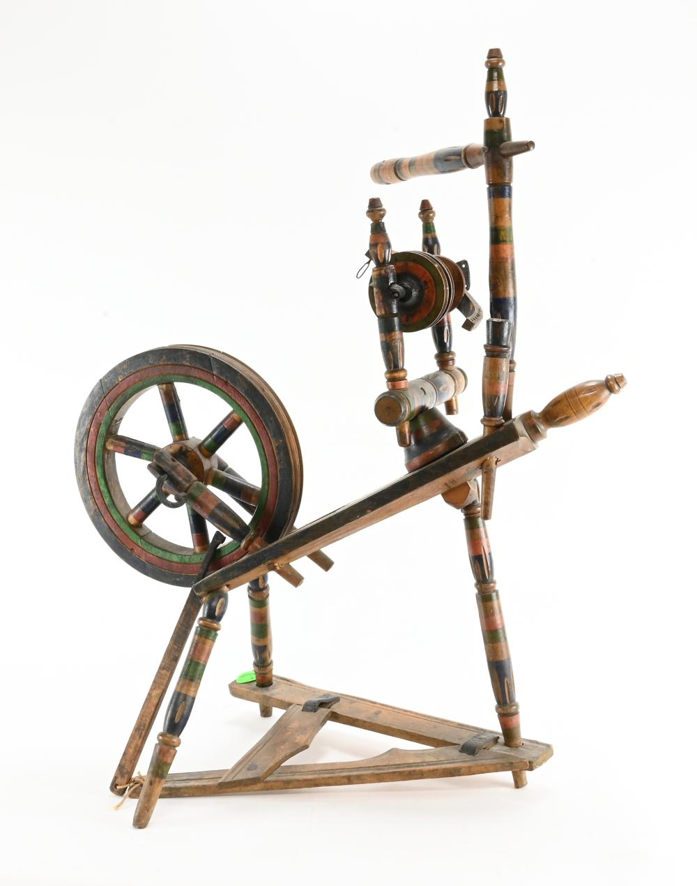 Early Paint Decorated Flax Wheel