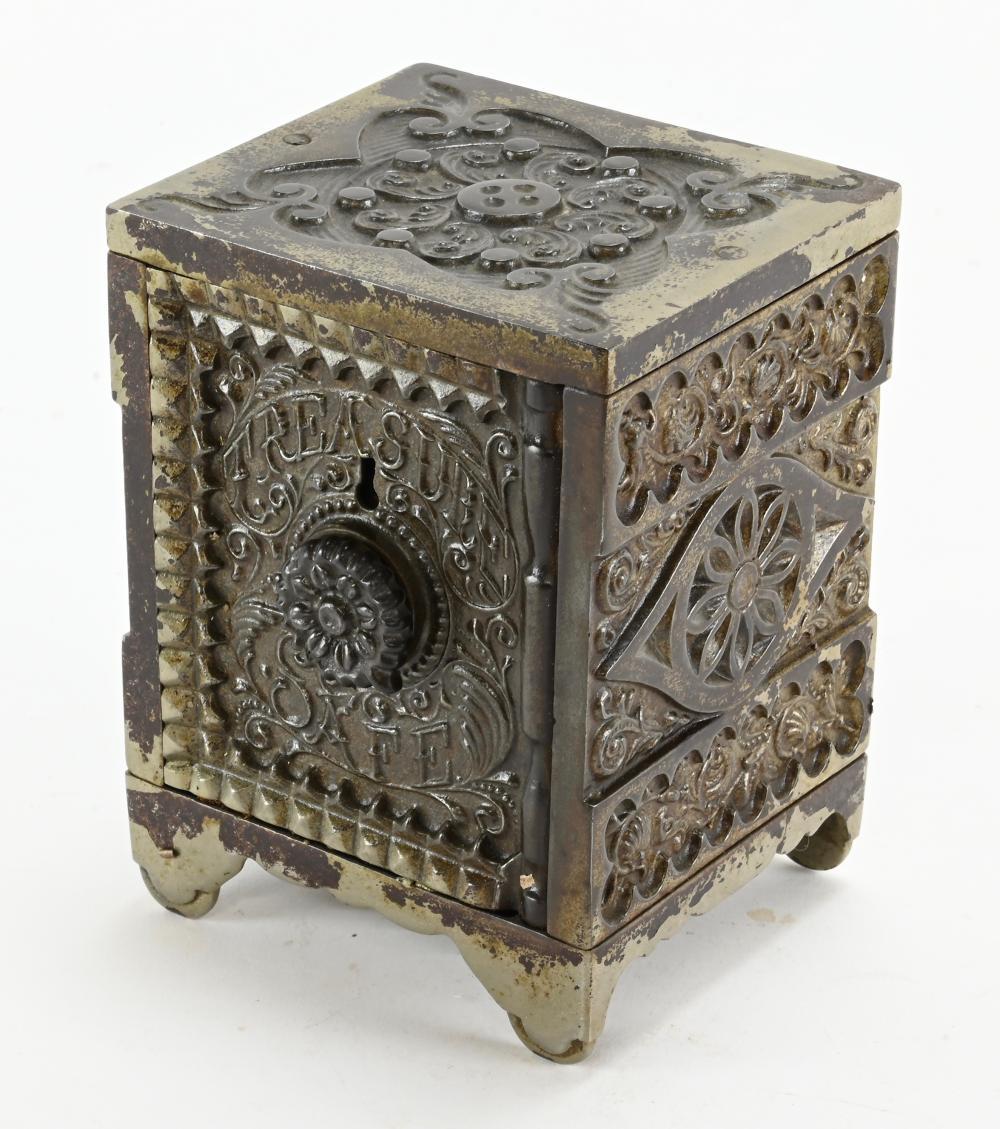 Antique J.E. Stevens Treasure Iron Safe Coin Bank