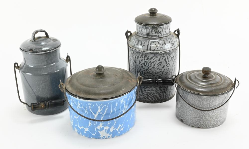 Antique Graniteware And Blue Swirl Berry And Milk Pails