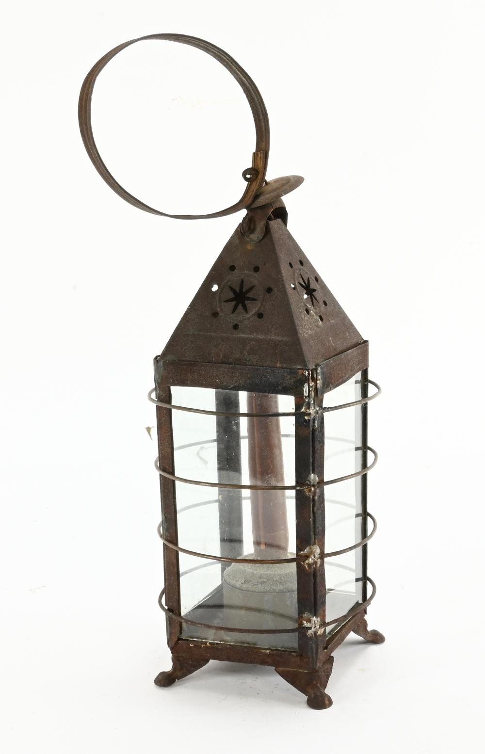 Antique Handmade Tinware Candle Lantern