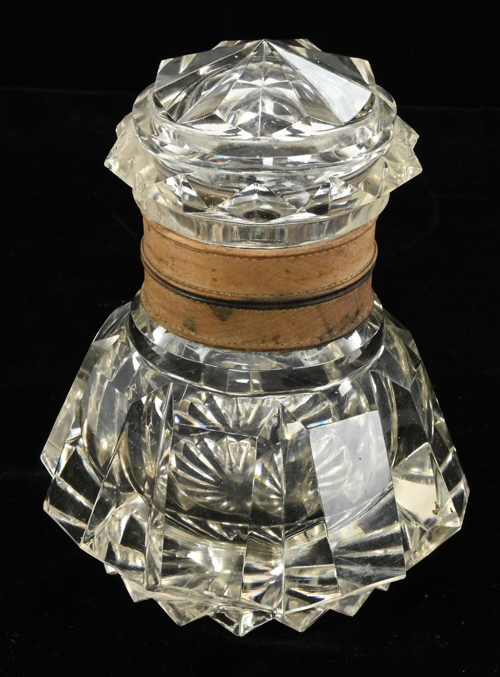 Antique Large Cut Crystal Glass Inkwell