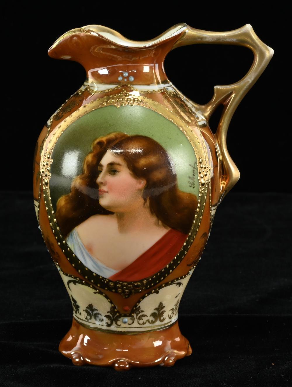 Antique German Hand Painted Portrait Porcelain Pitcher