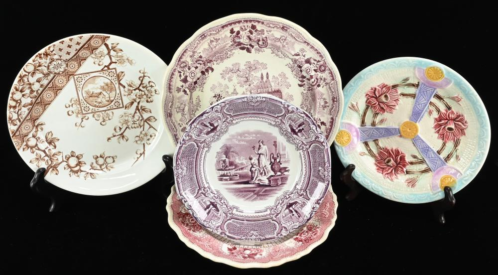 Antique English Transferware And Majolica Plate Collection