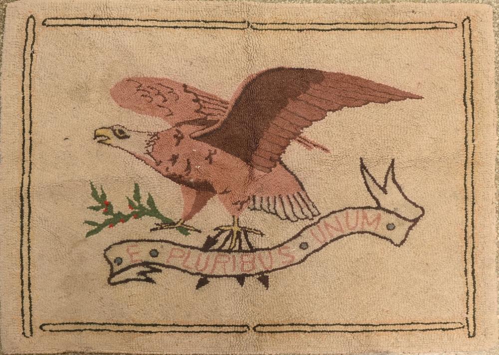 Vintage American Folk Art E. Pluribus Unum Eagle Hooked Rug