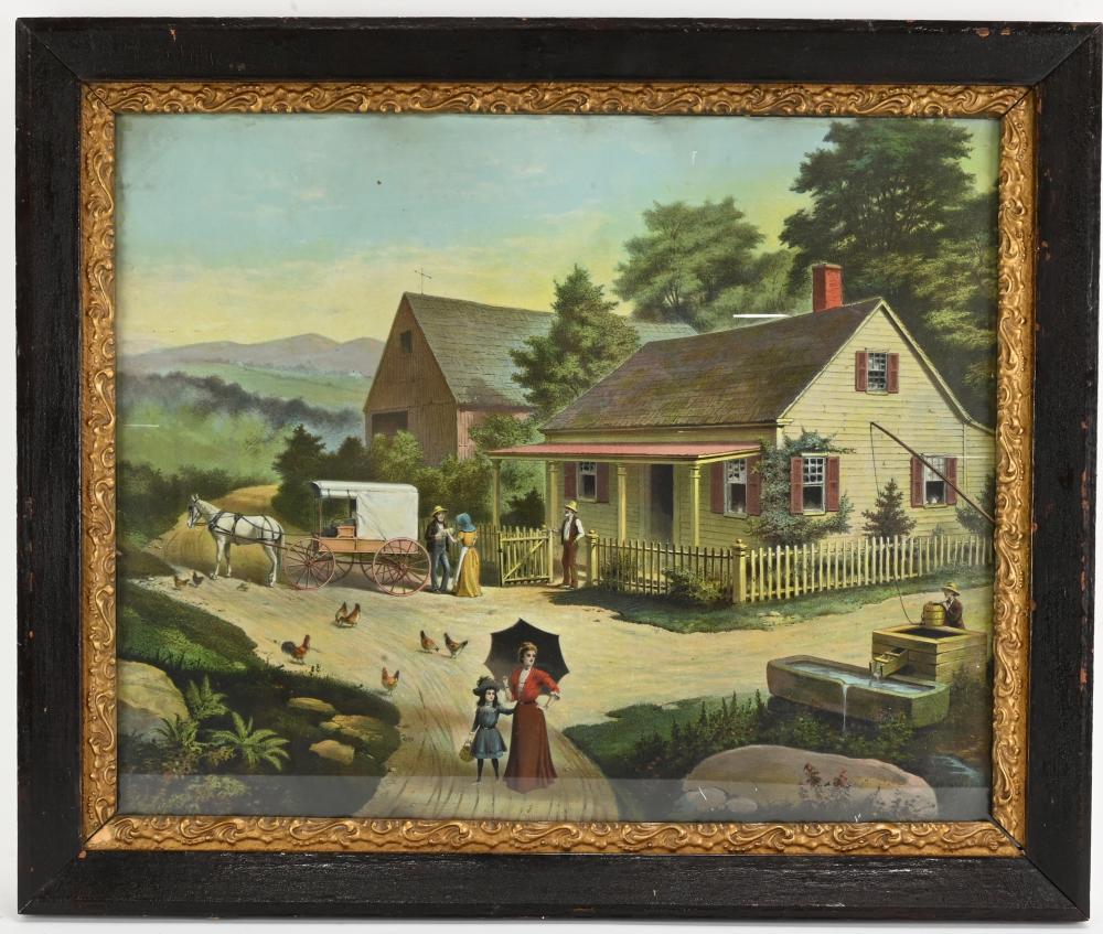 Early American Cottage Farm Scene Art Print