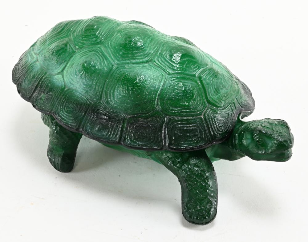 Vintage Green Art Glass Turtle Covered Dish