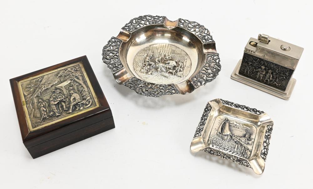 Vintage Holland Dutch Silver Smoking Set Collection