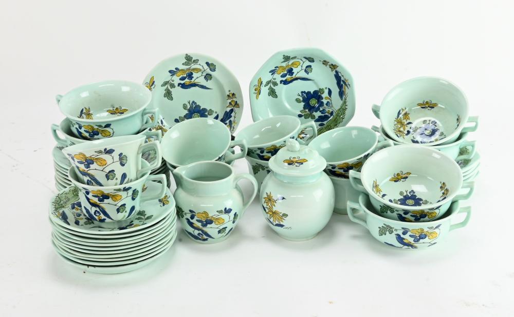 Vintage Adams English Blue Parrot Calyx Ware Dinnerware