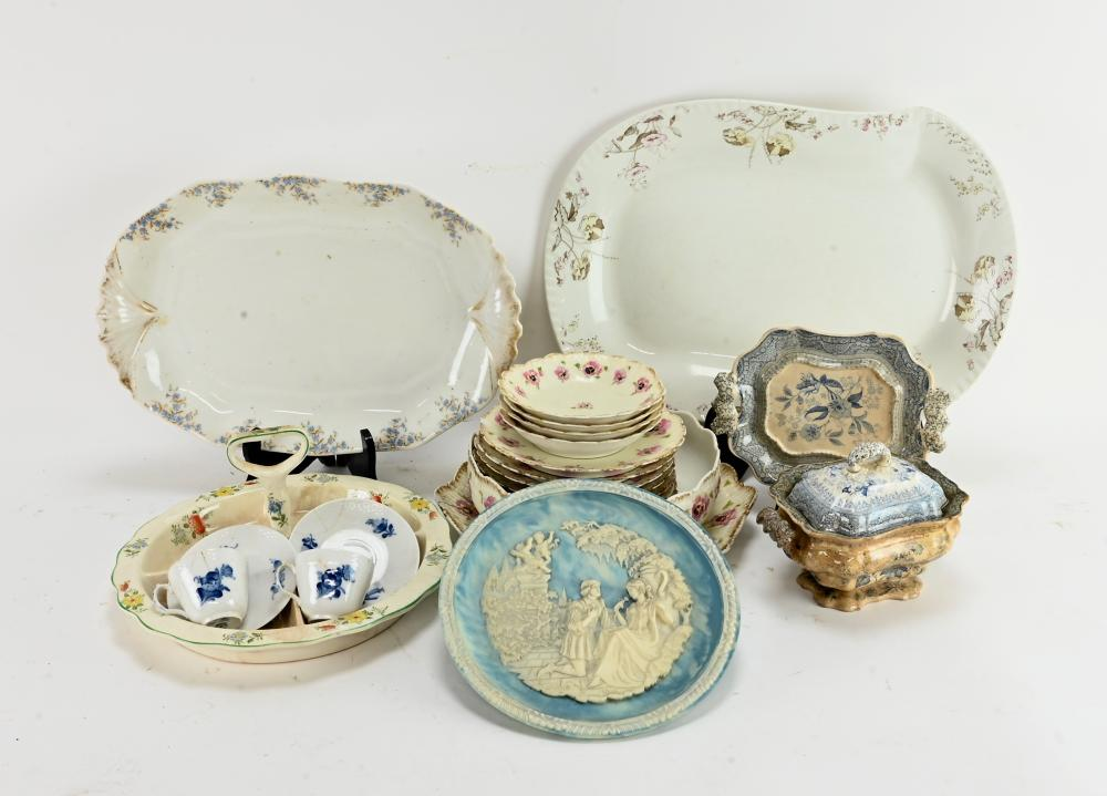 Antique French And English Dinnerware Group Lot