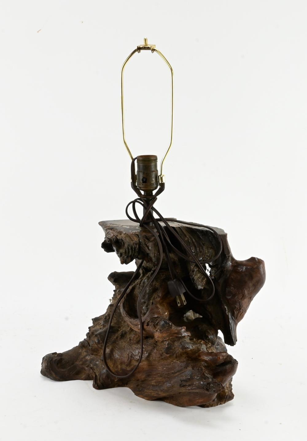 Antique Natural Wood Form Lamp Base