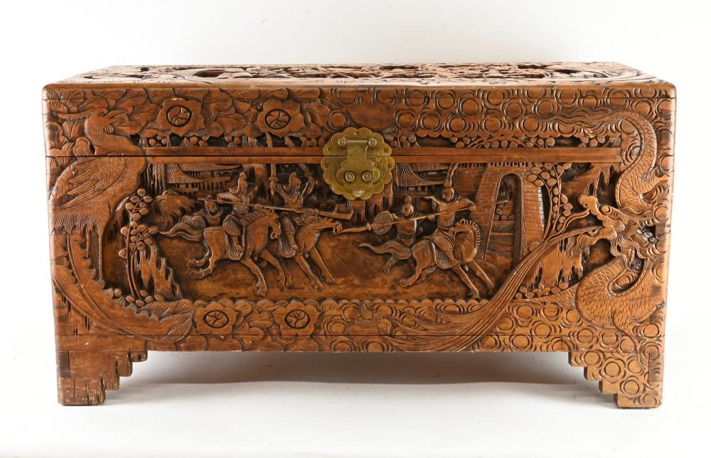 Important Chinese PUN HING HONG Carved Chest