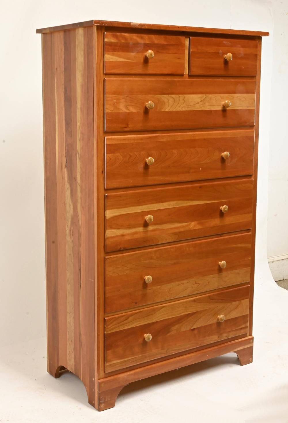 Fine Cherry Wood Tall Chest Of Drawers