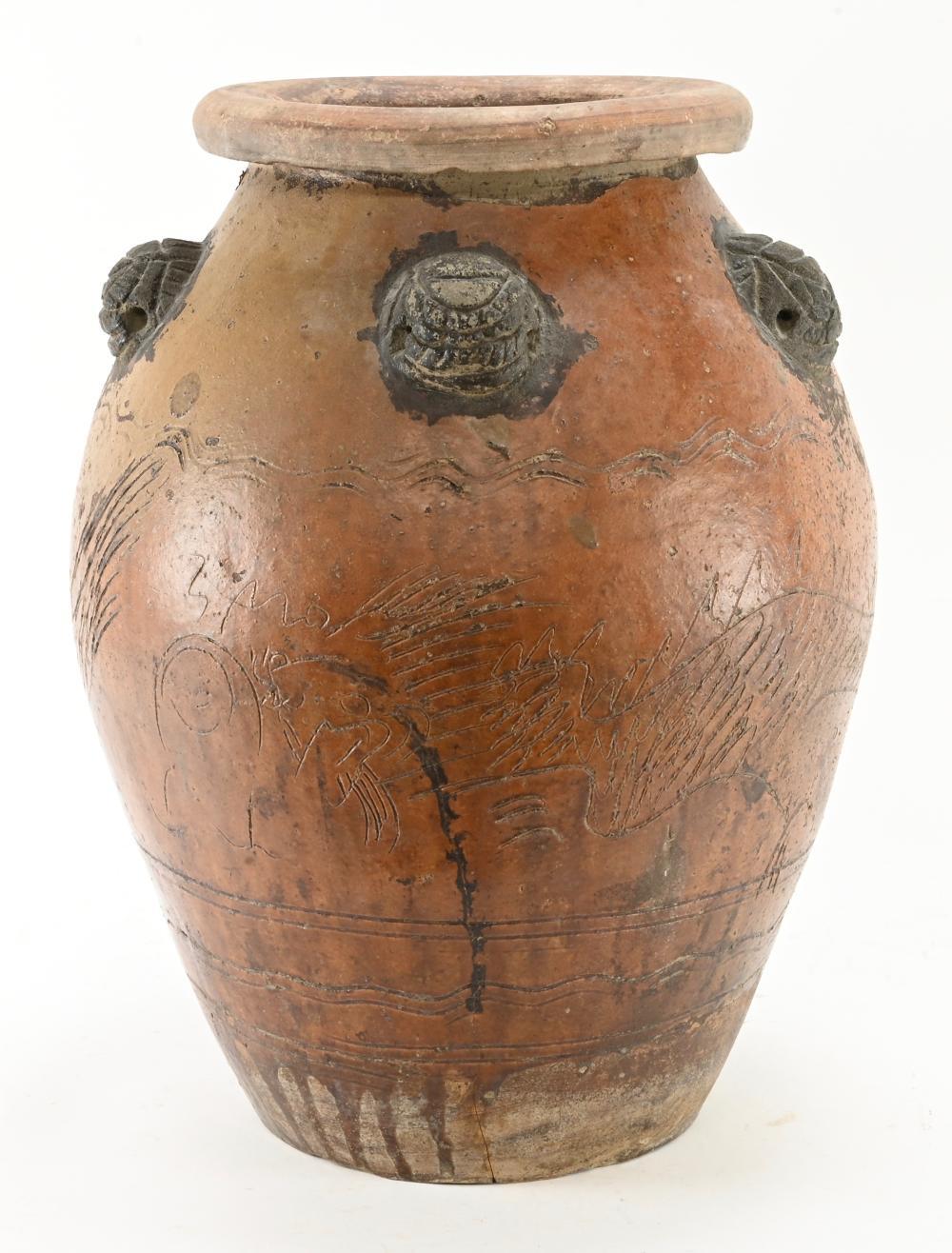 Modern Art Pottery Carved Urn