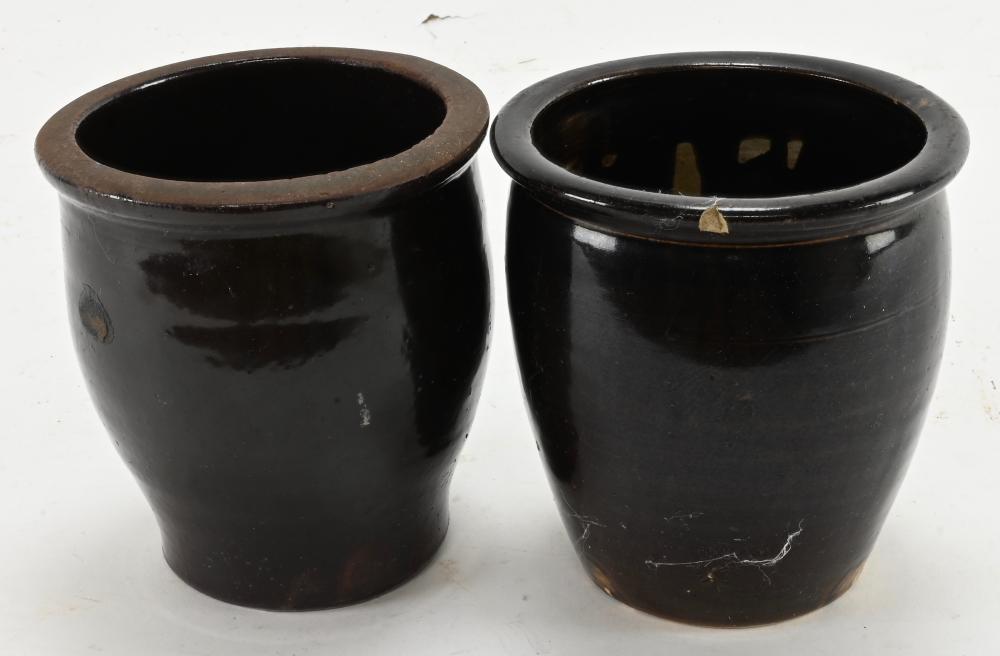 Antique American Pottery Jam Jars