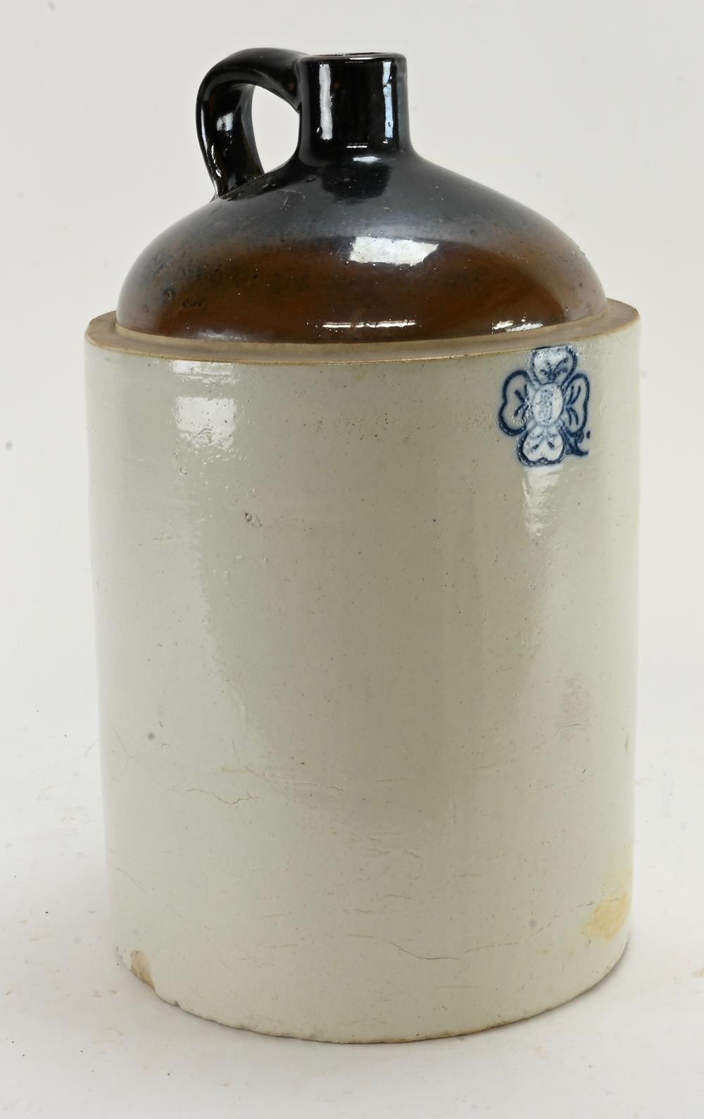 Antique 5 Gallon Cloverleaf Stoneware Jug