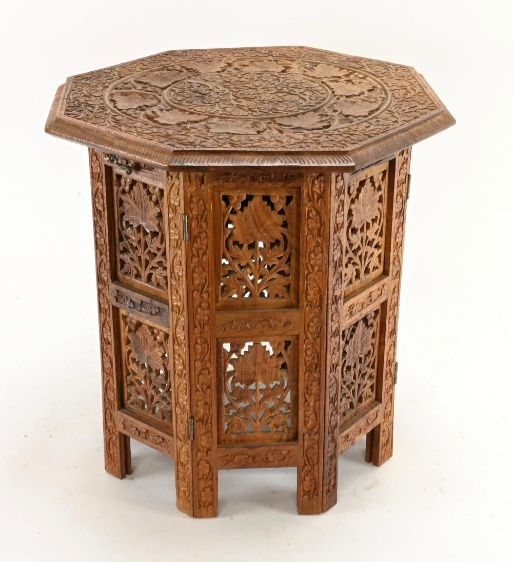 Vintage Persian Carved Small Collapsible Table