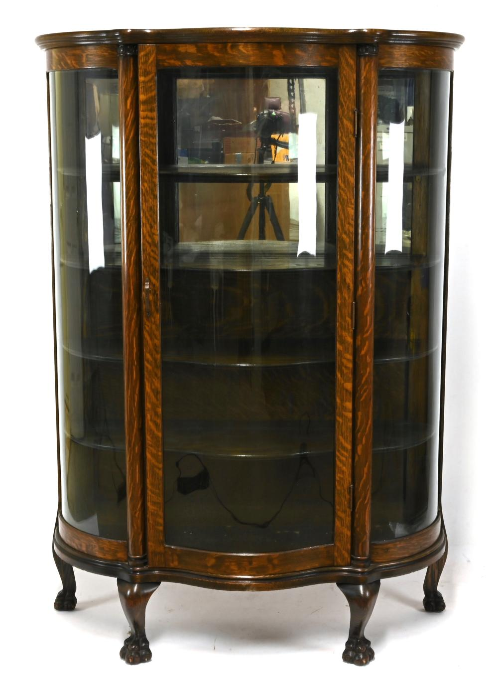 Antique American Oak Bow Front China Cabinet