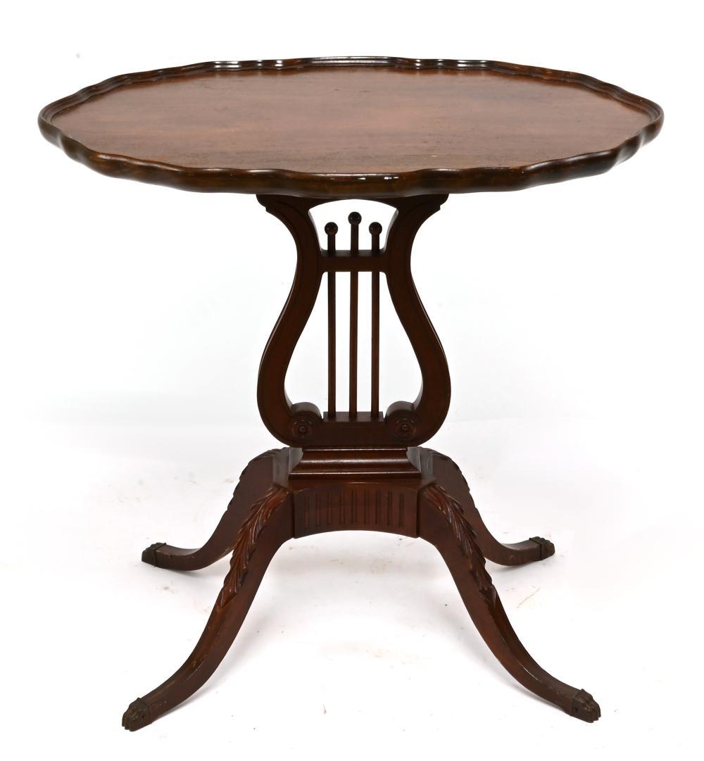 Vintage Duncan Phyfe Lyre Base End Table