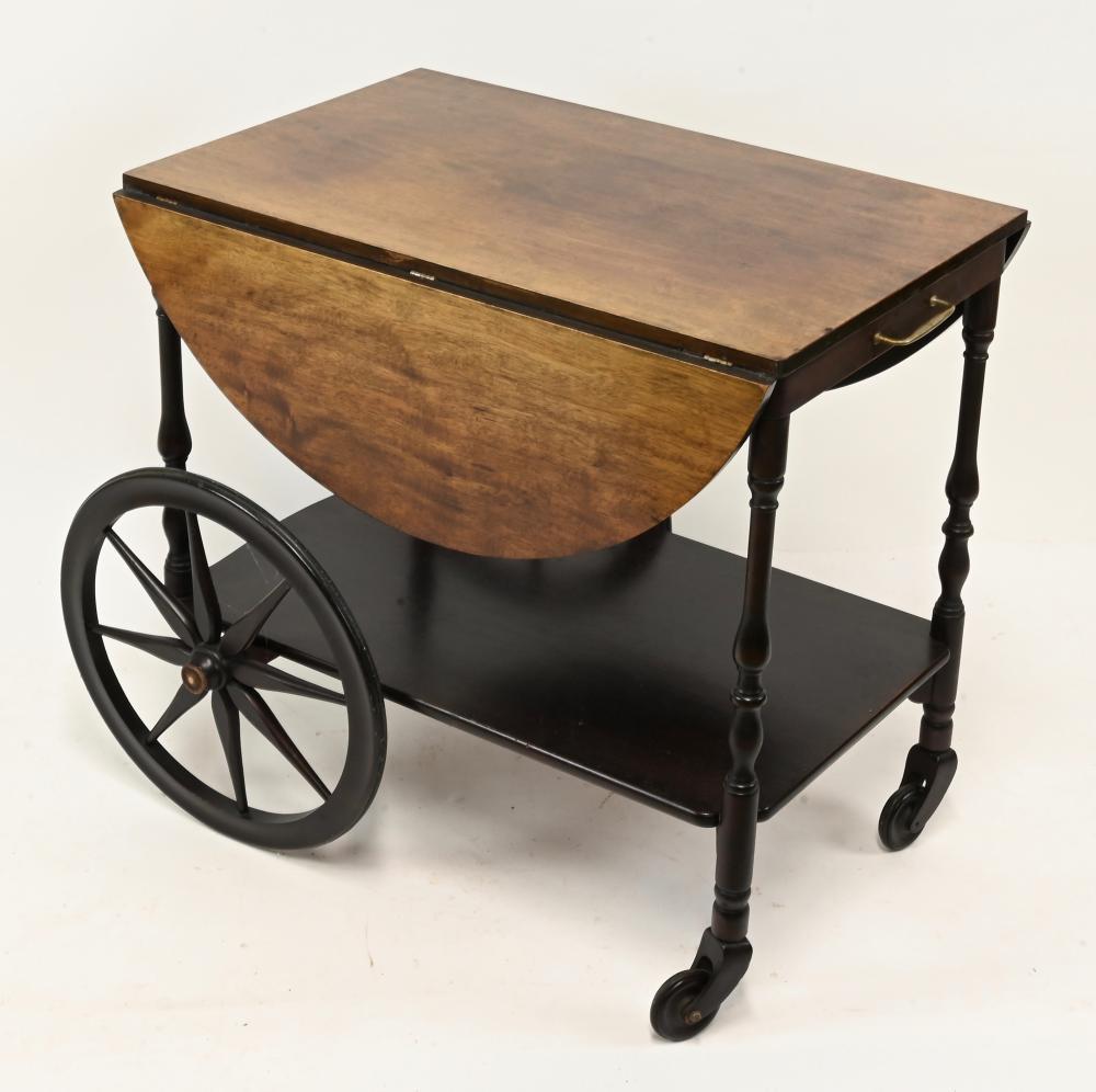 Vintage Wooden Drop Leaf Tea Cart